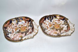 Pair of 19th century shell shaped Derby dishes with an Imari design, blue factory mark to base, 22cm