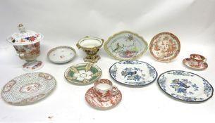 Group of porcelain wares including a Derby pastille burner, a Worcester Grainger & Co coffee cup and