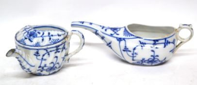 Two European porcelain dishes modelled in blue and white in Meissen style