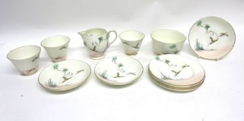 Quantity of Royal Doulton tea wares in the Coppice pattern with cups and saucers in an Art Deco