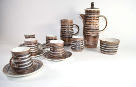Rye Pottery coffee set comprising coffee pot, milk jug, sugar bowl and six coffee cups and