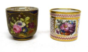 English porcelain coffee can, possibly Pinxton, decorated with flowers to centre, together with a
