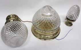 Brass mounted hobnail cut globular hanging light and two others, largest 23cm high