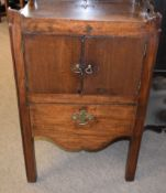 George III period mahogany night table with pierced galleried top (part missing), the front with two