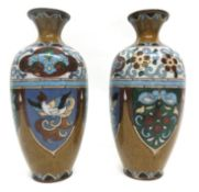 Pair of cloisonne vases with typical decoration of birds and geometric devices, 20cm high (2)