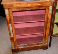 Victorian burr walnut veneered and marquetry inlaid pier cabinet with single glazed rectangular