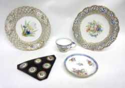 Sevres type cup and saucer together with two Sevres type plates with a pierced design to rim and