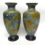 Pair of Royal Doulton natural foliage ware vases, 32cm high (2)