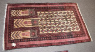 Caucasian rug with central panels of geometric foliage, mainly red field, 154 x 92cm