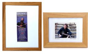Signed and framed photo of Steve Hackett together with signed and framed advert for a 2019 concert.