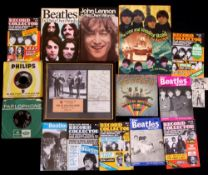 Collection of Beatles memorabilia including a 'Beatles 4 Ever' clock, Beatles Monthly books, various