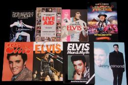 Small collection of music books to include 'Live Aid: This Book Saves Lives', 'Forever Elvis' etc.