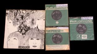 """Selection of three first pressing Beatles 7"""" singles and Revolver LP, including 'I Want to Hold Your"""