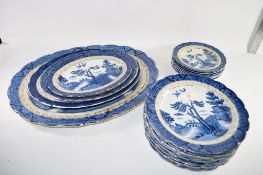 QTY OF DINNER WARES BY BOOTHS IN OLD WILLOW PATTERN COMPRISING OF SERVING DISHES, DINNER PLATES,