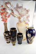 GROUP OF CERAMIC WARES INCLUDING A POLISH POTTERY VASE, OTHER VASES ETC