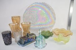 GROUP OF CARNIVAL GLASS ITEMS, VASES BOWLS ETC