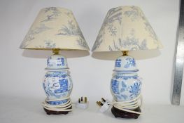PAIR OF CERAMIC TABLE LAMPS AND SHADES WITH A BLUE AND WHITE CHINESE DESIGN