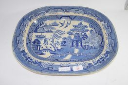 LARGE WILLOW PATTERN BLUE AND WHITE MEAT PLATE