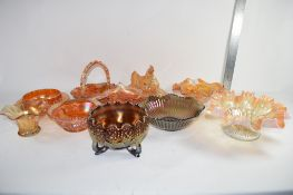 GROUP OF CARNIVAL GLASS INCLUDING A DIAMOND POINT MAY BASKET BY MATTHEW TURNBULL AND A FURTHER