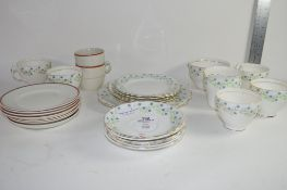 QTY OF ENGLISH PRCELAIN TEA WARES COMPRISING OF CUPS AND SAUCERS, MILK JUG AND SANDWHICH PLATE