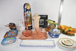 GROUP OF CERAMIC AND GLASS ITEMS INCLUDING A GLASS DRESSING TABLE SET, RUSSIAN DOLLS AND A WOODEN