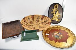QTY OF WOODEN ITEMS, PAINTED SHAPED TRAY, WICKER WORK BASKET AND OTHER ITEMS