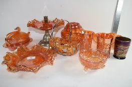 GROUP OF CARNIVAL GLASS INCLUDING A SOWERBY HOBSTART BOATSHAPED DISH