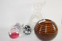 CAITHNESS CELEBRATION PAPERWEIGHT, TWO SMALL GLASS TEAPOTS AND GLASS VASE ETC
