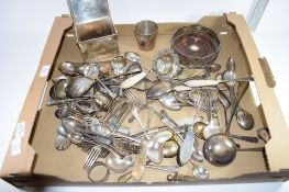 BOX QTY OF FLATWARE AND OTHER PLATED WARES