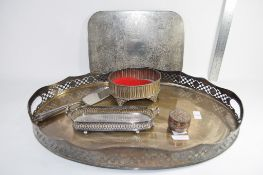 LARGE PLATED TRAY AND OTHER PLATED ITEMS