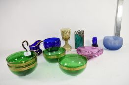 TRAY CONTAINING GROUP OF CERAMIC BOWLS FURTHER ART GLASS BOWL ETC