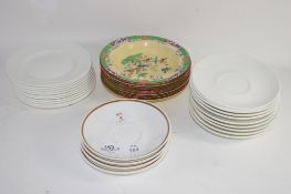 GROUP OF CERAMIC BOWLS BY MINTON TOGETHER WITH FURTHER QTY OF CHINA SAUCERS AND SIDEPLATES