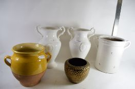 CERAMIC POTS, WHITE AND BROWN GLAZED