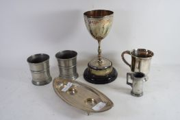 PLATED ITEMS AND A SILVER CANDLE HOLDER WITH ASSAY MARKS FOR CHESTER