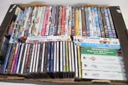 BOX CONTAINING DVDS AND CDS