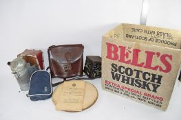 BOX CONTAINING METAL WARES AND WOODEN TRAY INCLUDING A METAL PUMP