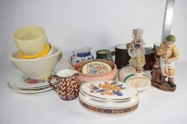 CERAMIC WARES, SLIP DECORATED POT, BLUE AND WHITE POT, SOME SERVING DISHES ETC