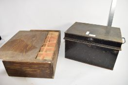 METAL TRUNK TOGETHER WITH FURTHER WOODEN BOX