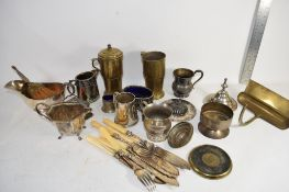 BOX CONTAINING SILVER PLATED ITEMS, GRAVY BOAT, ETC