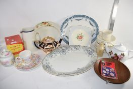 TRAY CONTAINING CERAMIC ITEMS, TEA POTS, SERVING DISHES ETC