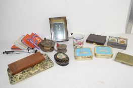 SMALL BOX CONTAINING A MODEL OF A RABBIT, SMALL CYLINDRICAL VASE, SOME 8MM MOVIE FILM AND A
