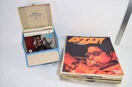 SMALL BOX CONTAINING QUANTITY OF 45RPM RECORDS AND A GROUP OF LPS