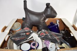 BOX CONTAINING METAL WARES AND CERAMIC ITEMS, CORKSCREWS, BOTTLE OPENERS, CHINA FIGURES ETC
