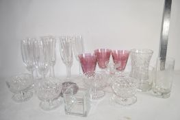 BOX CONTAINING GLASS WARES, CHAMPAGNE FLUTES ETC