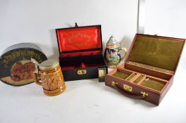 BOX CONTAINING TWO CHINA MUGS, AND TWO JEWELLERY BOXES