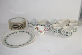 TRAY CONTAINING ROYAL DOULTON PART TEA SET IN THE TAPESTRY PATTERN INCLUDING SIX CUPS, SAUCERS AND