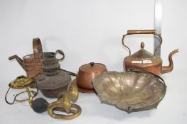 METAL WARES, COPPER KETTLE, SAUCEPAN, COVER, OLD BRASS HORN ETC