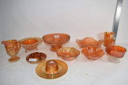 CARNIVAL GLASS WARES INCLUDING SMALL BOWL IN THE WILD ROSE PATTERN, SMALL VASE IN THE LATTICE AND