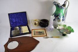 BOX CONTAINING FISH KNIVES AND FORKS, COMMEMORATIVE MUG, LARGE CERAMIC PICTURE AND CARNIVAL GLASS