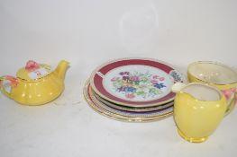 TRAY CONTAINING A CERAMIC TEA SET BY ROYAL WINTON COMPRISING SMALL TEA POT, MILK JUG AND SUGAR
